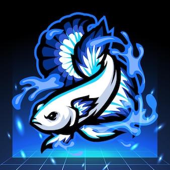 Design do logotipo do betta fish mascote esport de borda azul