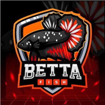 Design do logotipo do betta fish mascote esport