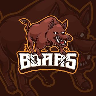 Design do logotipo do boars mascot esport