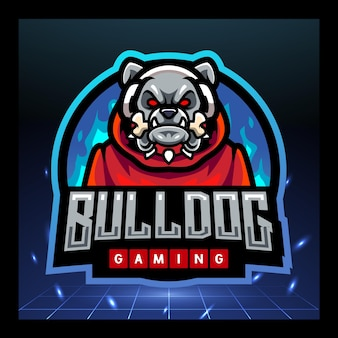 Design do logotipo do bulldog gaming mascote esport