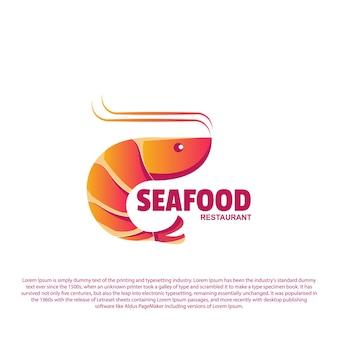 Design do logotipo do camarão logotipo do camarão para sua marca ou restaurante de frutos do mar