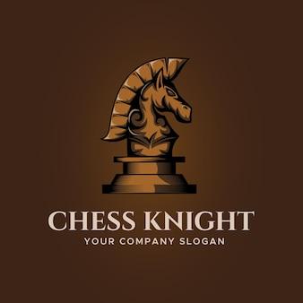 Design do logotipo do cavalo cavaleiro xadrez