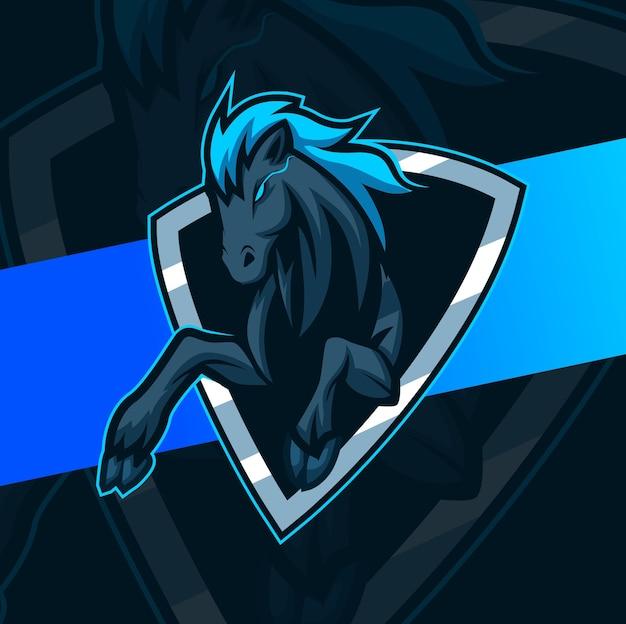 Design do logotipo do cavalo preto mustang mascote