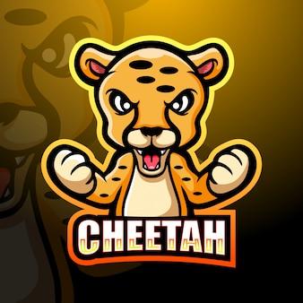 Design do logotipo do cheetah mascote esport