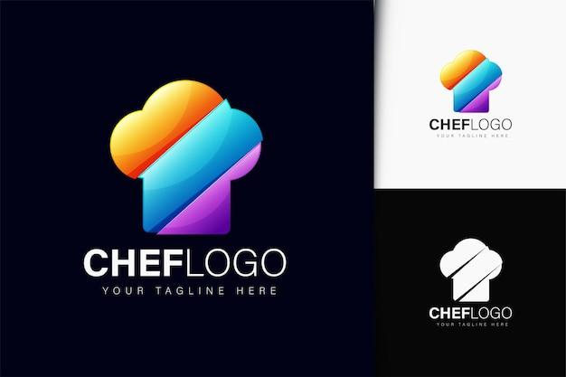 Design do logotipo do chef com gradiente