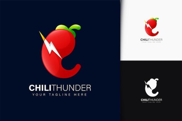 Design do logotipo do chili thunder com gradiente
