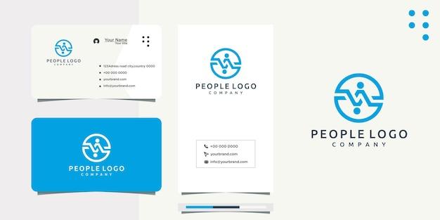 Design do logotipo do círculo de pessoas e cartão de visita