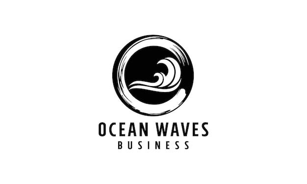 Design do logotipo do círculo do mar da onda.