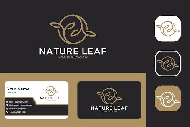 Design do logotipo do círculo elegante da natureza e cartão de visita