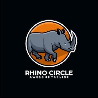 Design do logotipo do círculo rhino com cor lisa