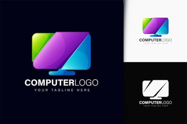 Design do logotipo do computador com gradiente