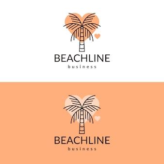 Design do logotipo do coração de palmeira
