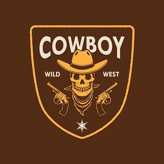 Design do logotipo do cowboy skull