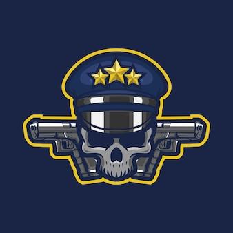 Design do logotipo do crânio da mascote da polícia