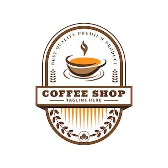 Design do logotipo do emblema da cafeteria
