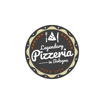 Design do logotipo do emblema do emblema do restaurante da pizza pizzaria retro vintage