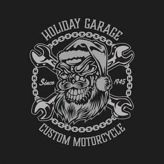 Design do logotipo do emblema vintage do papai noel motociclista