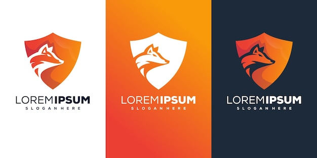 Design do logotipo do escudo do lobo