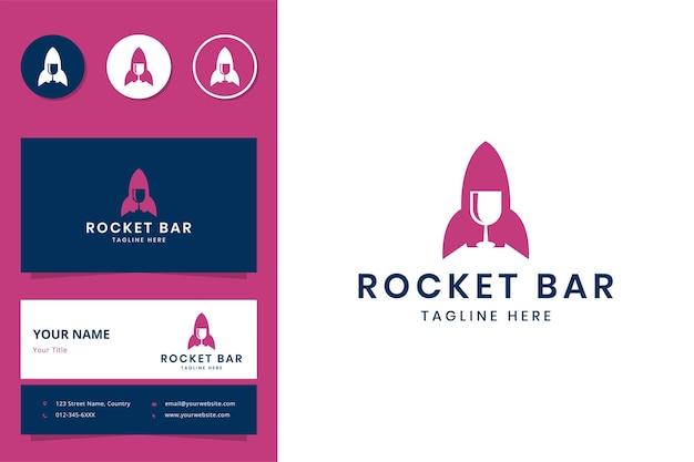 Design do logotipo do espaço negativo da barra do foguete