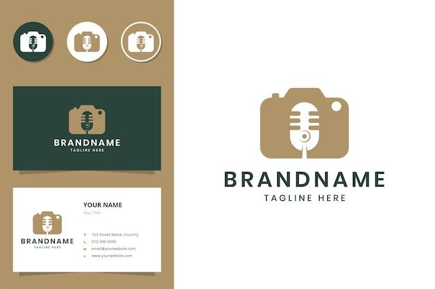 Design do logotipo do espaço negativo da câmera do podcast