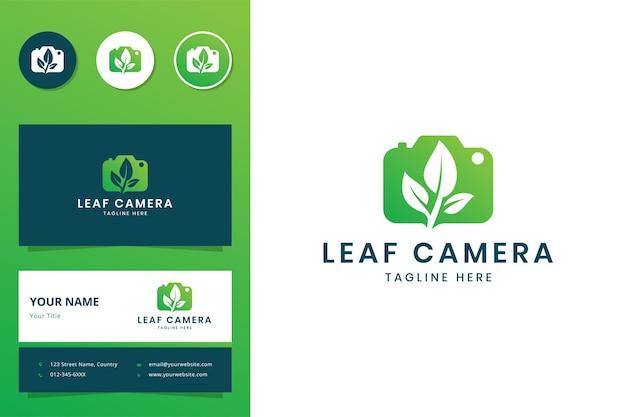Design do logotipo do espaço negativo da câmera leaf