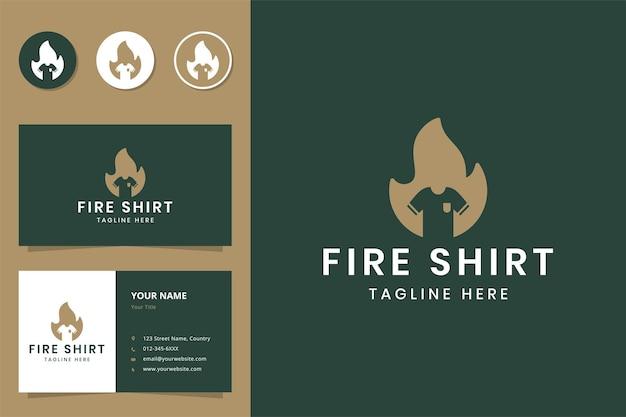 Design do logotipo do espaço negativo da camisa fire