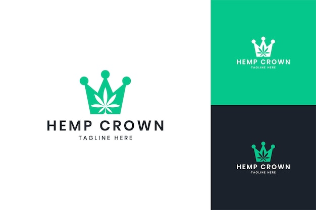 Design do logotipo do espaço negativo da coroa de cannabis