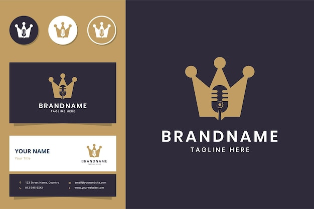 Design do logotipo do espaço negativo da coroa do podcast