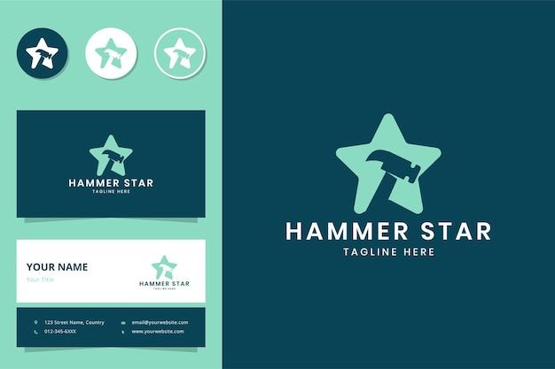 Design do logotipo do espaço negativo da estrela do martelo