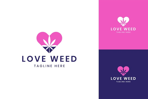 Design do logotipo do espaço negativo da love cannabis