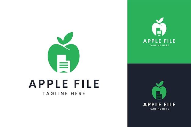 Design do logotipo do espaço negativo do documento da apple