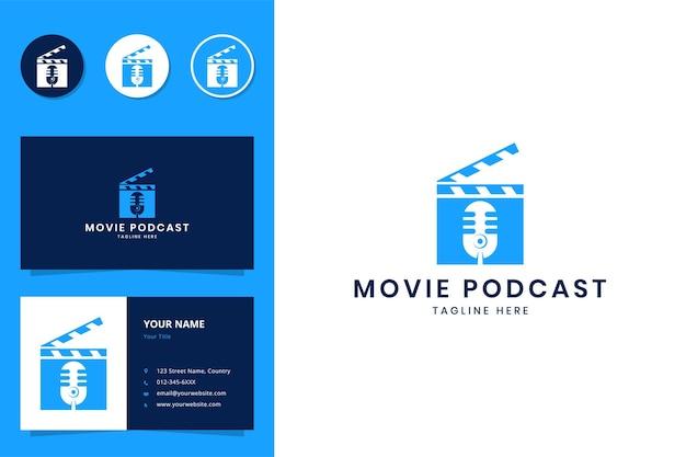 Design do logotipo do espaço negativo do podcast do filme