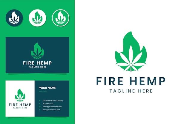 Design do logotipo do espaço negativo fire cannabis