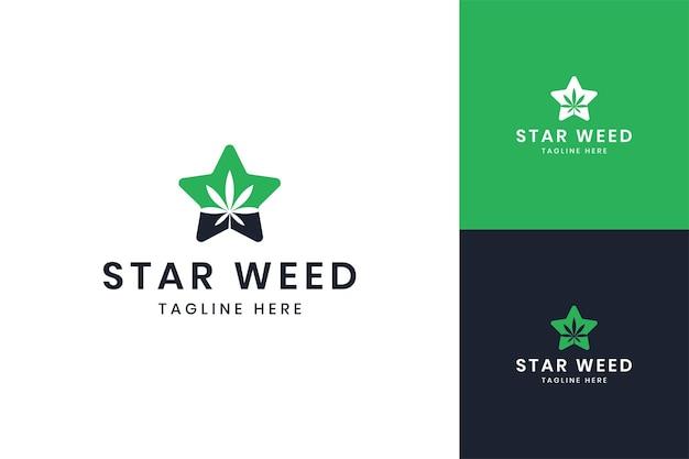 Design do logotipo do espaço negativo star cannabis