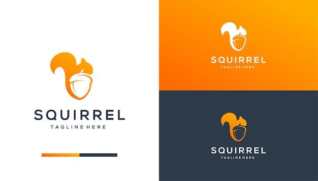Design do logotipo do esquilo espacial negativo