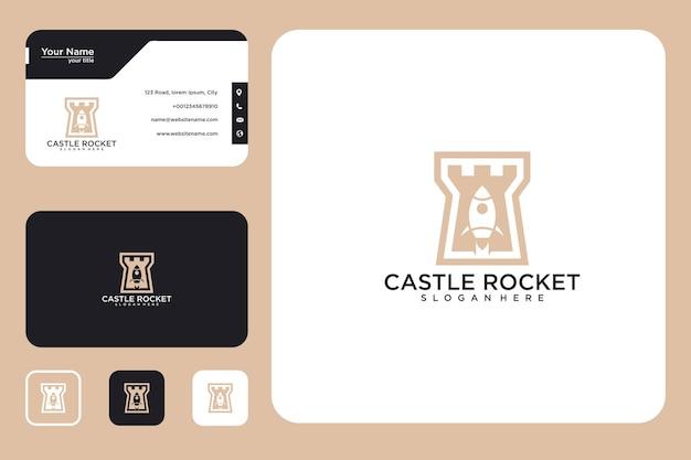 Design do logotipo do foguete do castelo e cartão de visita