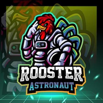 Design do logotipo do galo astronauta mascote esport