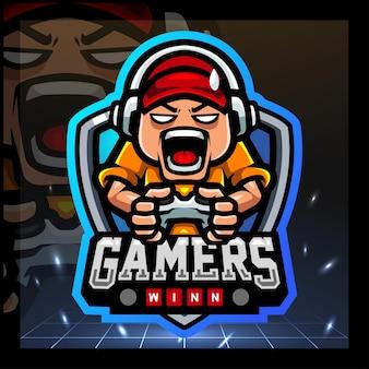 Design do logotipo do gamer kids mascote esport