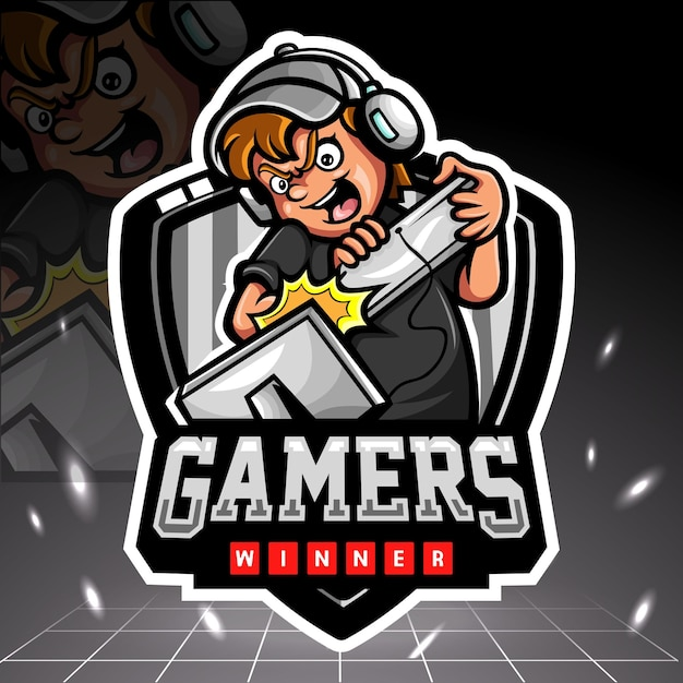 Design do logotipo do gamers mascote esport