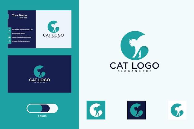 Design do logotipo do gato e cartão de visita