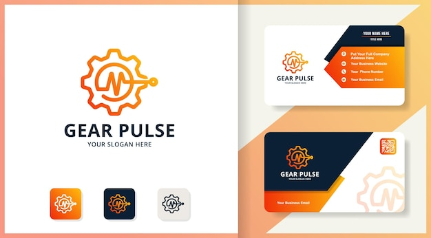 Design do logotipo do gear music pulse, design de inspiração para tratamento e entretenimento