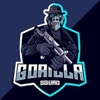 Design do logotipo do gorilla squad esport