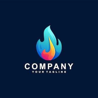 Design do logotipo do gradiente da cor da chama