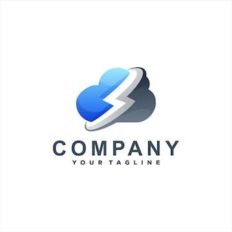 Design do logotipo do gradiente de cor da nuvem