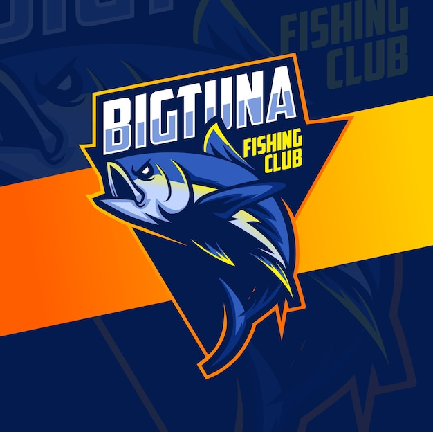 Design do logotipo do grande mascote da pesca de atum esport