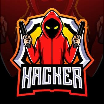 Design do logotipo do hacker mascote esport