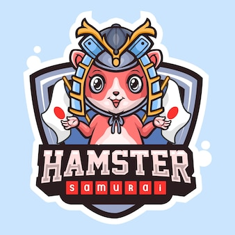 Design do logotipo do hamster samurai mascote esport