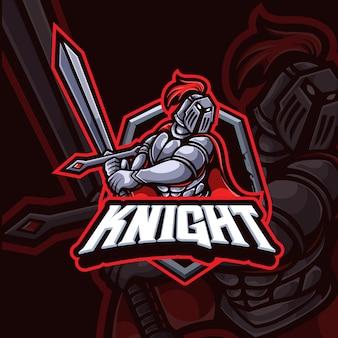 Design do logotipo do knight mascote esport gaming