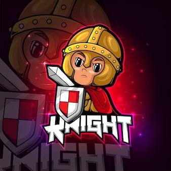 Design do logotipo do knight mascote esport