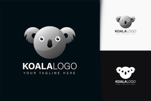 Design do logotipo do koala com gradiente